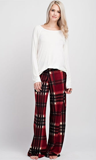 Ready To Chill Plaid Drawstring Loose Wide Leg Pants - 4 Colors Available (Pre-Order)