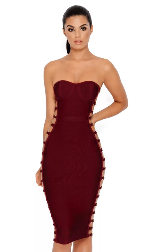 Risquê Rebel Burgundy Strapless Cut Out Lattice Lace Up Sides Bodycon Bandage Midi Dress