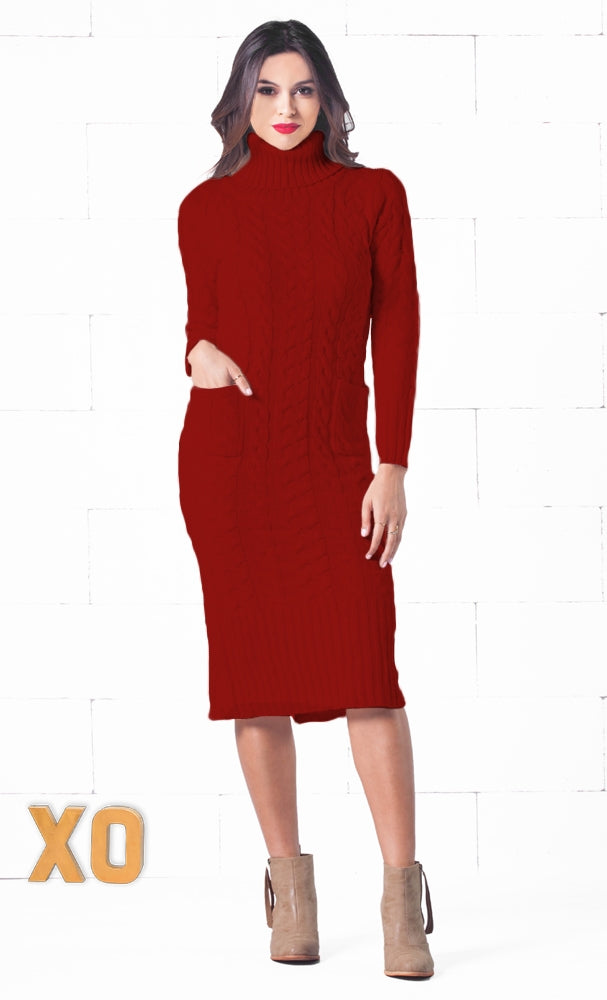 381774f24a3 Snow Bunny Burgundy Wine Red Long Sleeve Turtleneck Cable Knit Pocket Midi  Sweater Dress
