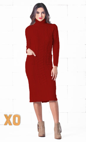 Soho Snow Day 3/4 Sleeve Turtleneck Chunky Knit Round Hem Tunic Sweater Mini Dress - 2 Colors Available