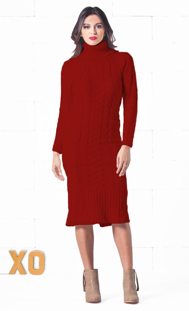 cdc573e1fec Snow Bunny Burgundy Wine Red Long Sleeve Turtleneck Cable Knit Pocket Midi Sweater  Dress