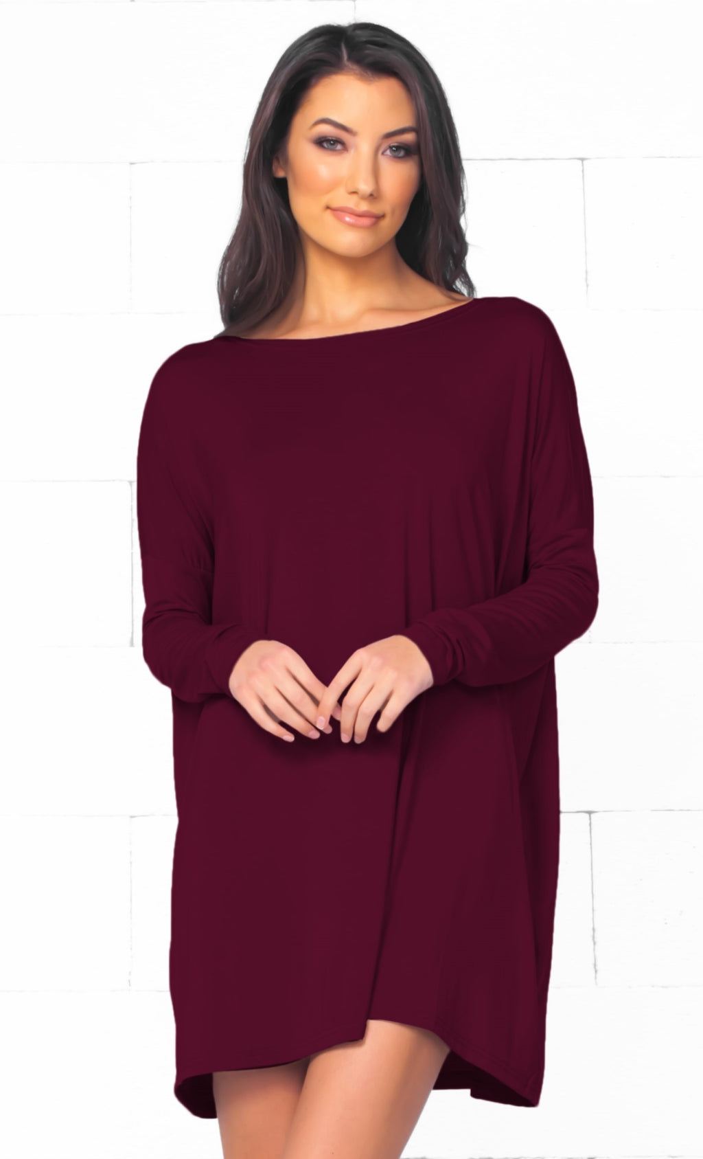 Piko 1988 Wine Burgundy Red Long Sleeve Scoop Neck Piko BambooOversized Basic Tunic Tee Shirt Mini Dress