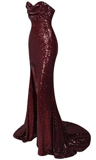 Puttin' On The Glitz Burgundy Wine Red Sequin Strapless Split Front Maxi Dress