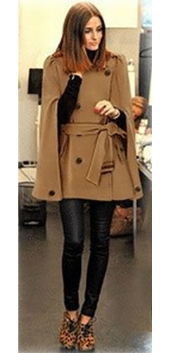 Brown Navy Blue Wool Double Breasted Button Epaulet Pleat Back Tie Belt Cape Coat - Inspired by Olivia Palermo - Sold Out