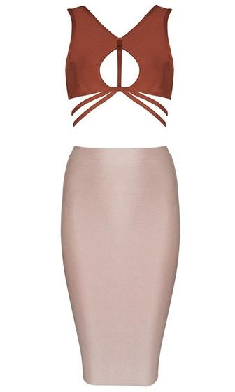 Made You Look Beige Brown Bandage Sleeveless V Neck Cut Out Crop Top Bodycon Two Piece Midi Dress - 2 Colors Available