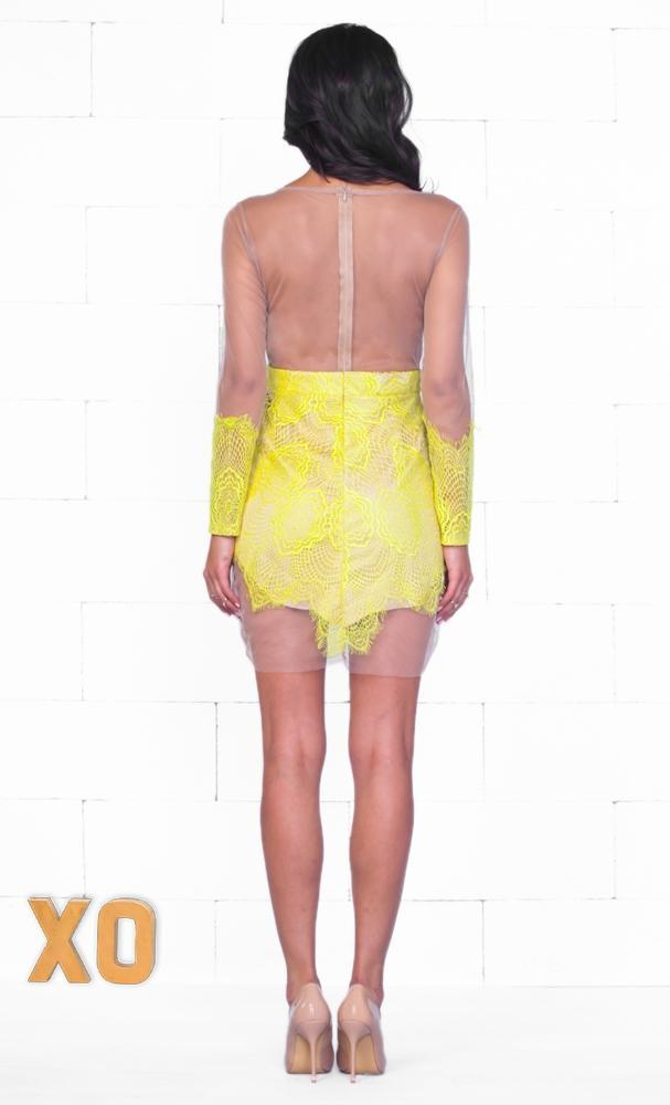 Indie XO Tempting Muse Yellow Beige Sheer Mesh Lace Long Sleeve V Neck Zip Back Bodycon Mini Dress - Just Ours! - Sold Out