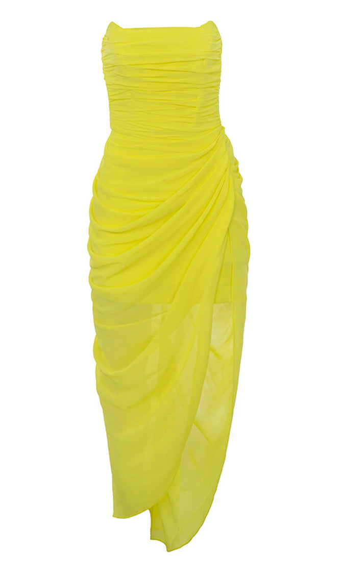 bfe0be13ac0 You re Extraordinary Bright Yellow Strapless Ruched Side Slit Asymmetric  Bodycon Maxi Dress