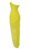 You're Extraordinary Bright Yellow Strapless Ruched Side Slit Asymmetric Bodycon Maxi Dress