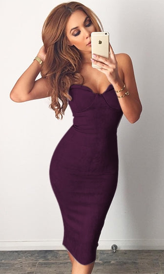 Make You Love Me Purple Faux Suede Strapless V Neck Bodycon Midi Dress - Inspired by Marianne Knerr