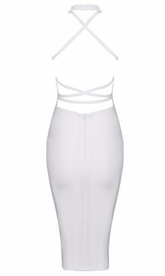 City Sights White Spaghetti Strap Sleeveless Mock Neck Plunge Scoop Neck Cut Out Back Bodycon Bandage Midi Dress