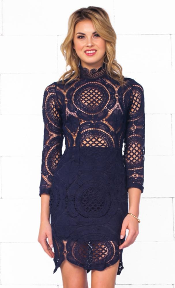 Indie XO Nautical Romance Navy Blue Sheer Lace Long Sleeve Mock Neck Scallop Bodycon Mini Dress - Just Ours! - Sold Out