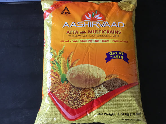 AASHIRWAD WHOLE WHEAT MULTIGRAIN FLOUR 10 LB