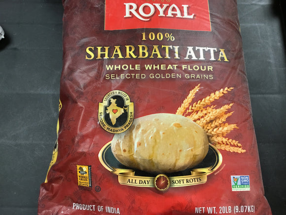 Royal - Sharbati ATTA  Whole Wheat Flour 20 LB