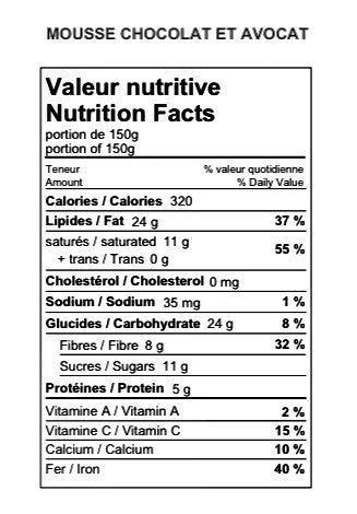 valeur nutritive - Mousse ChocoVocat