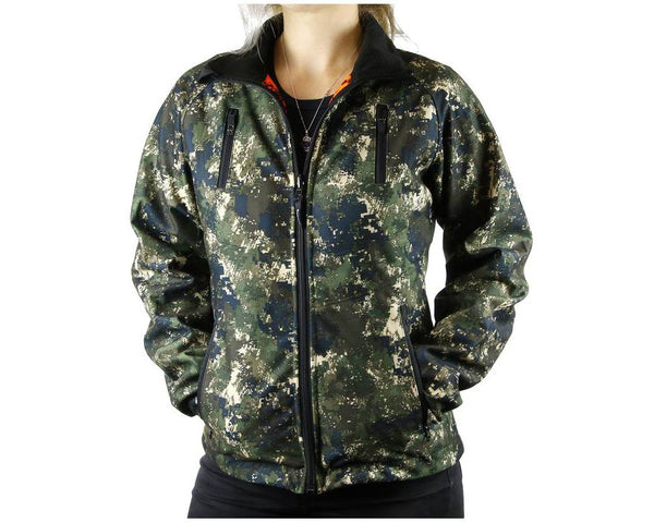 TECL-WOOD Women's Multi-Functional Reversible Jacket: Camo/Blaze Orange