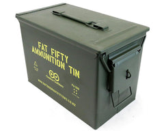 Ammo Tin: Fat Fifty Ammunition Tin with Padlock