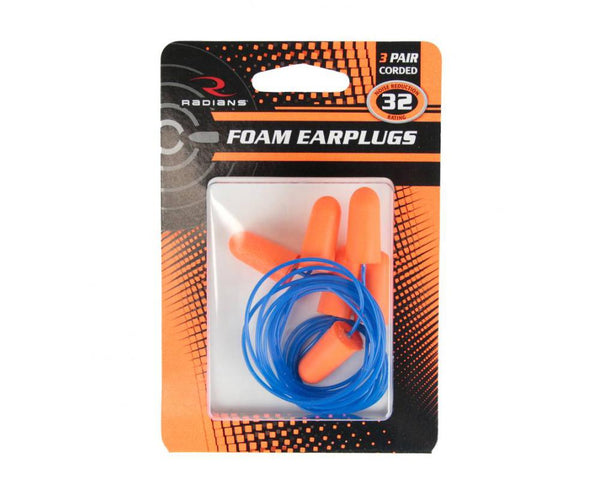 Radians Foam Plugs Corded 3 Pair Pack