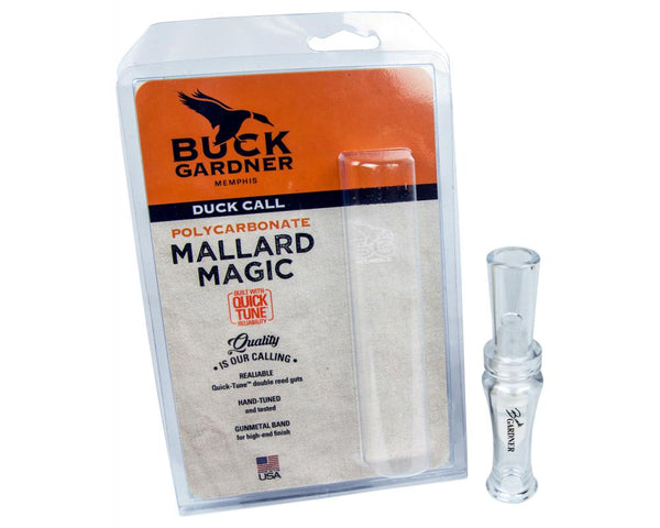 Buck Gardner Duck Call 'Mallard Magic' Double Reed, Poly, Clear