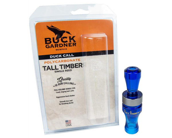 Buck Gardner Duck Call 'Tall Timber' Single Reed, Poly, Blue