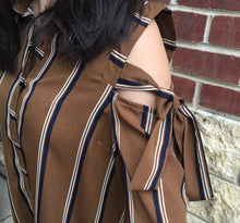 STRIPED COLD SHOULDER BUTTON UP