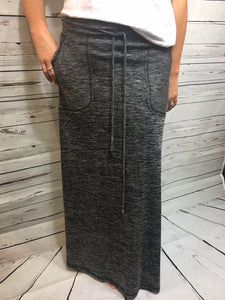 CHARCOAL LONG SKIRT WITH POCKETS