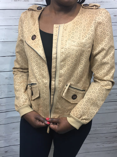 WOVEN JACKET WITH FLOWER CUTOUTS