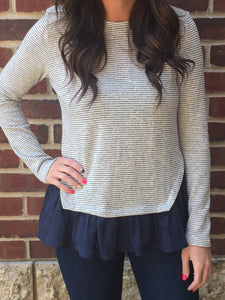 STRIPED RUFFLE FRONT PULLOVER