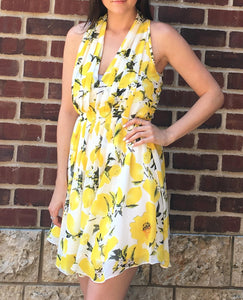 LEMON PRINT HALTER DRESS