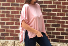 DROP SHOULDER TOP WITH SIDE TIE