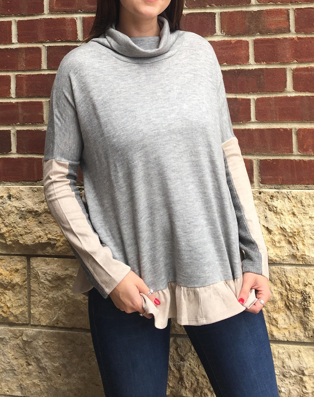 COWLNECK RUFFLED SWEATER