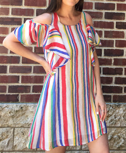 STRIPED RUFFLE SLEEVE DRESS