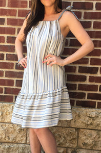 TIE SHOULDER STRIPED DRESS