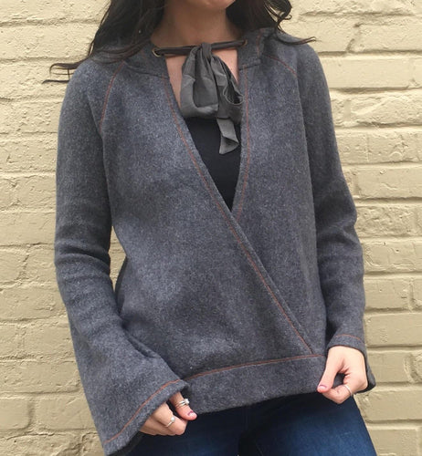 WRAP SWEATER WITH BOW
