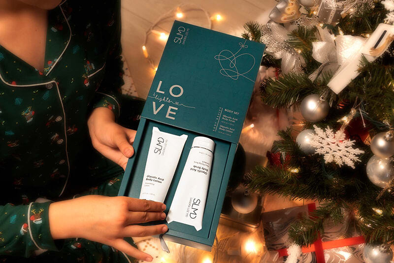 Love & Lights Body Set with Glycolic Acid Body Scrub and Body Lotion by SLMD Skincare