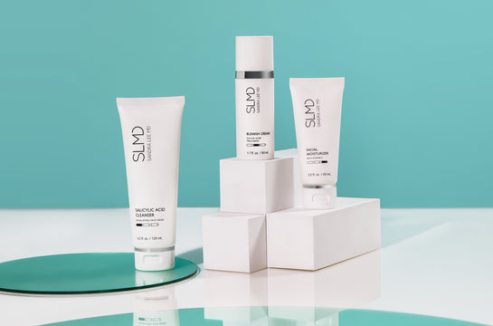 A photograph of SLMD Sensitive Skin Acne System: Salicylic Acid Cleanser, Sulfur Lotion, Facial Moisturizer