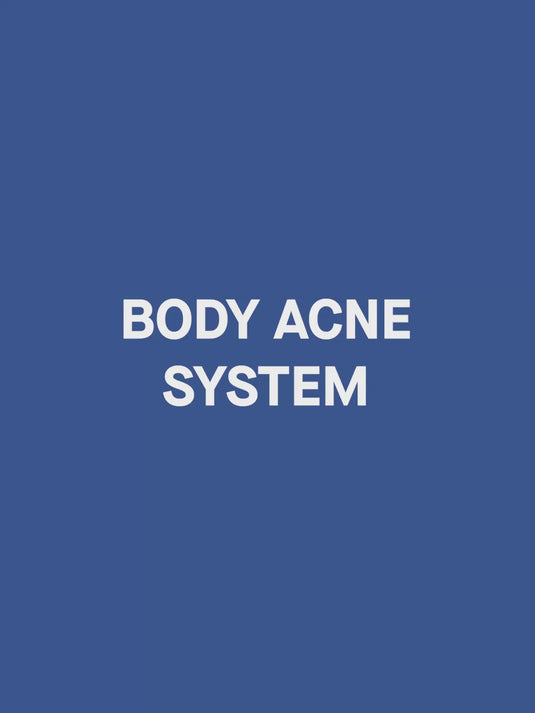A video of a male model demonstrating how to use SLMD Body Acne System with product benefits