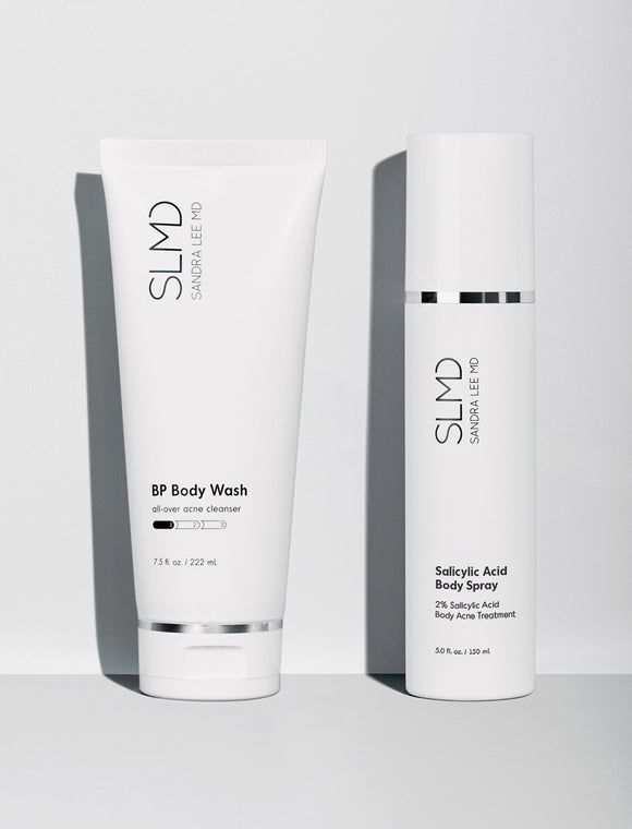A photograph of SLMD Skincare Body Acne System: BP Body Wash, Salicylic Acid Body Spray