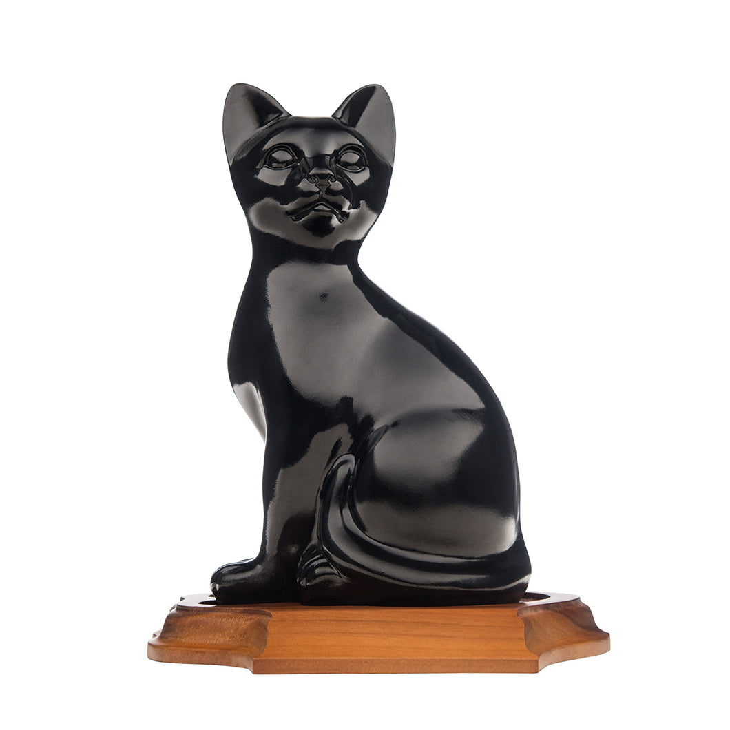 Black Sitting Cat ceramic urn. For your cats ashes.