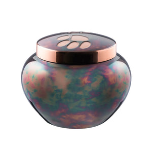 Copper Raku Pet Urn with paw prints on the lid.