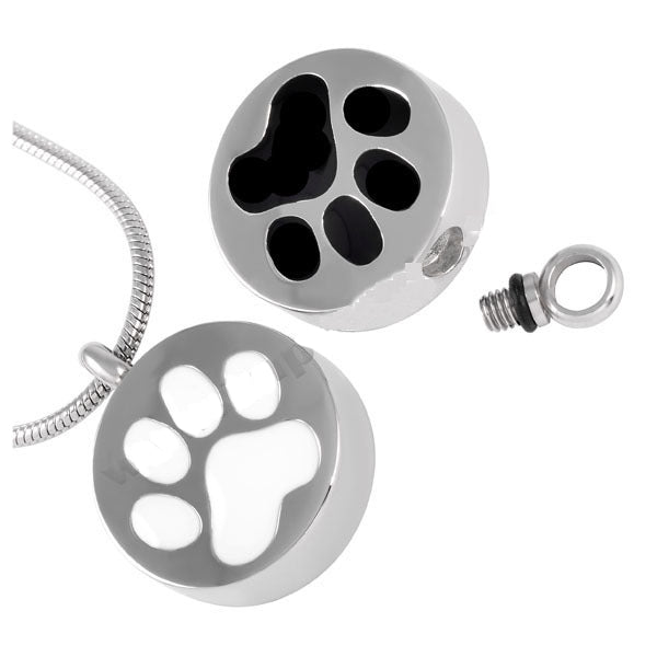 Paw print cremation pendant. Available in white or black.