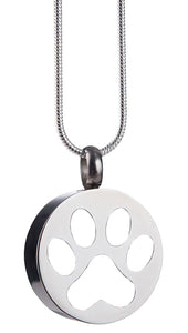 White paw print cremation pendant.
