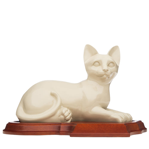 Neutral Relaxing Cat ceramic urn. For your cats ashes.