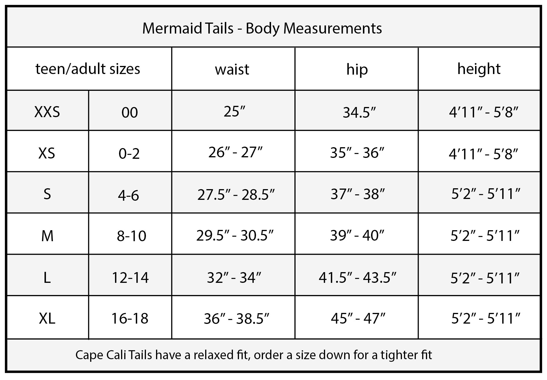 Cape Cali Adult Mermaid Tail Size Chart