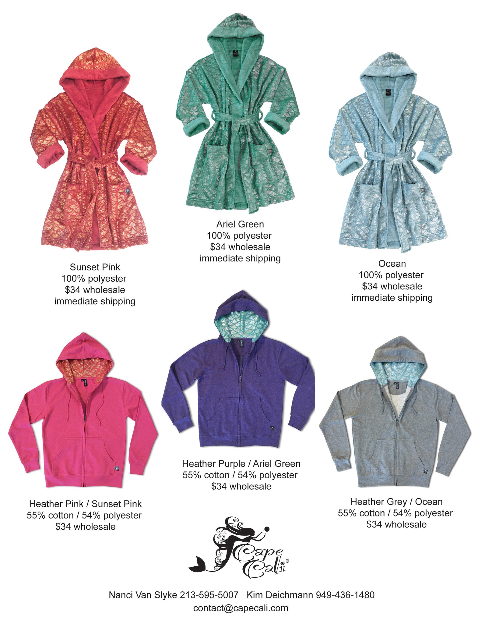 Cape Cale Wholesale Adult Robes and Mer Hoodies - Cape Cali