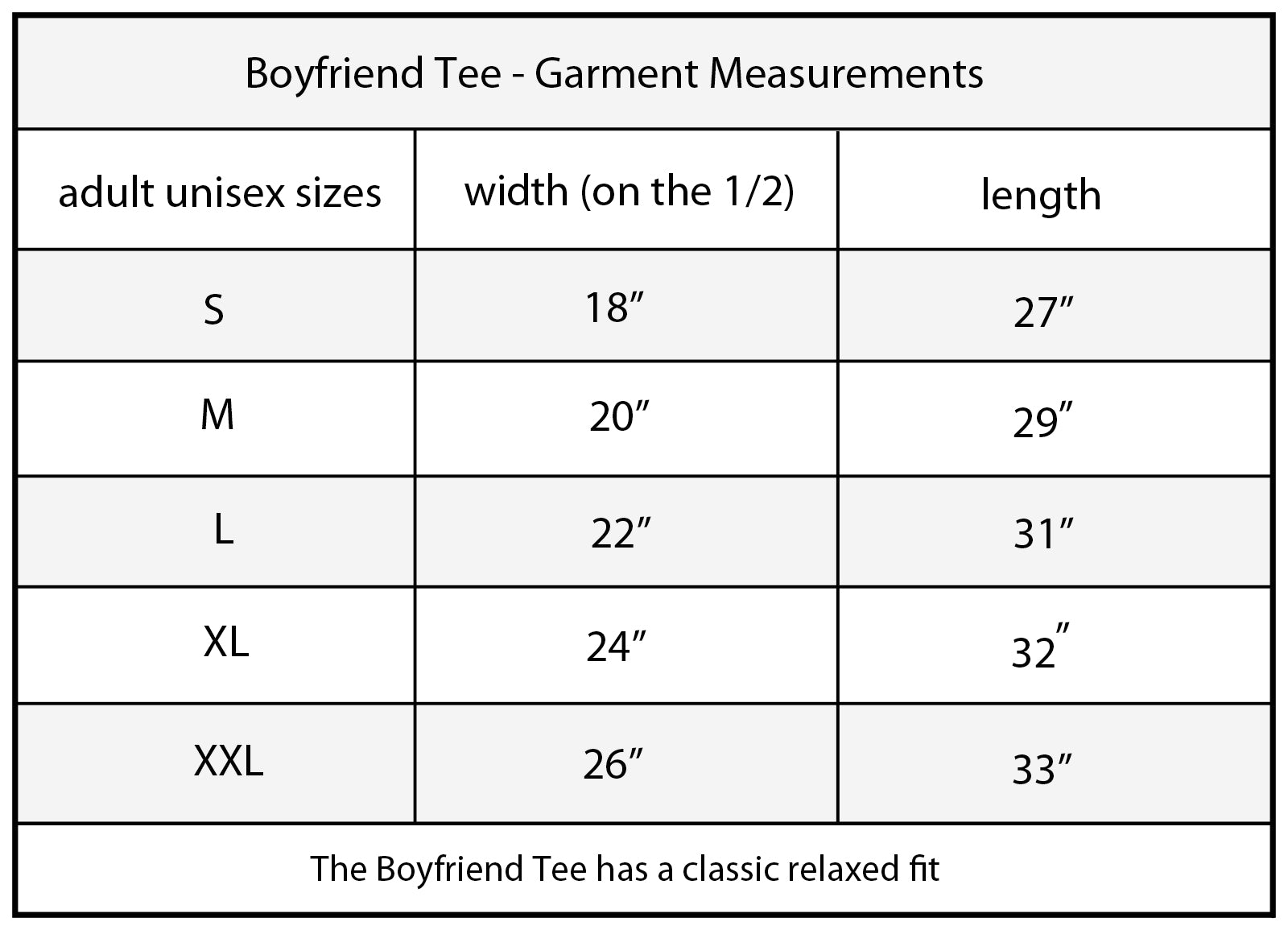 Cape Cali Boy Friend (Mens)Tee Size Chart
