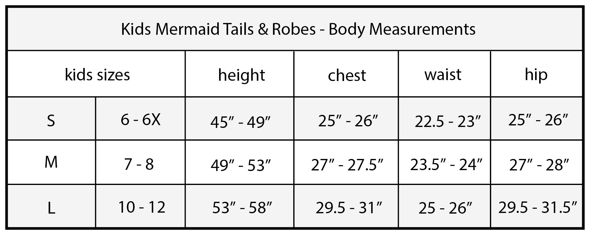 Cape Cali Kids Mermaid Tail Size Chart