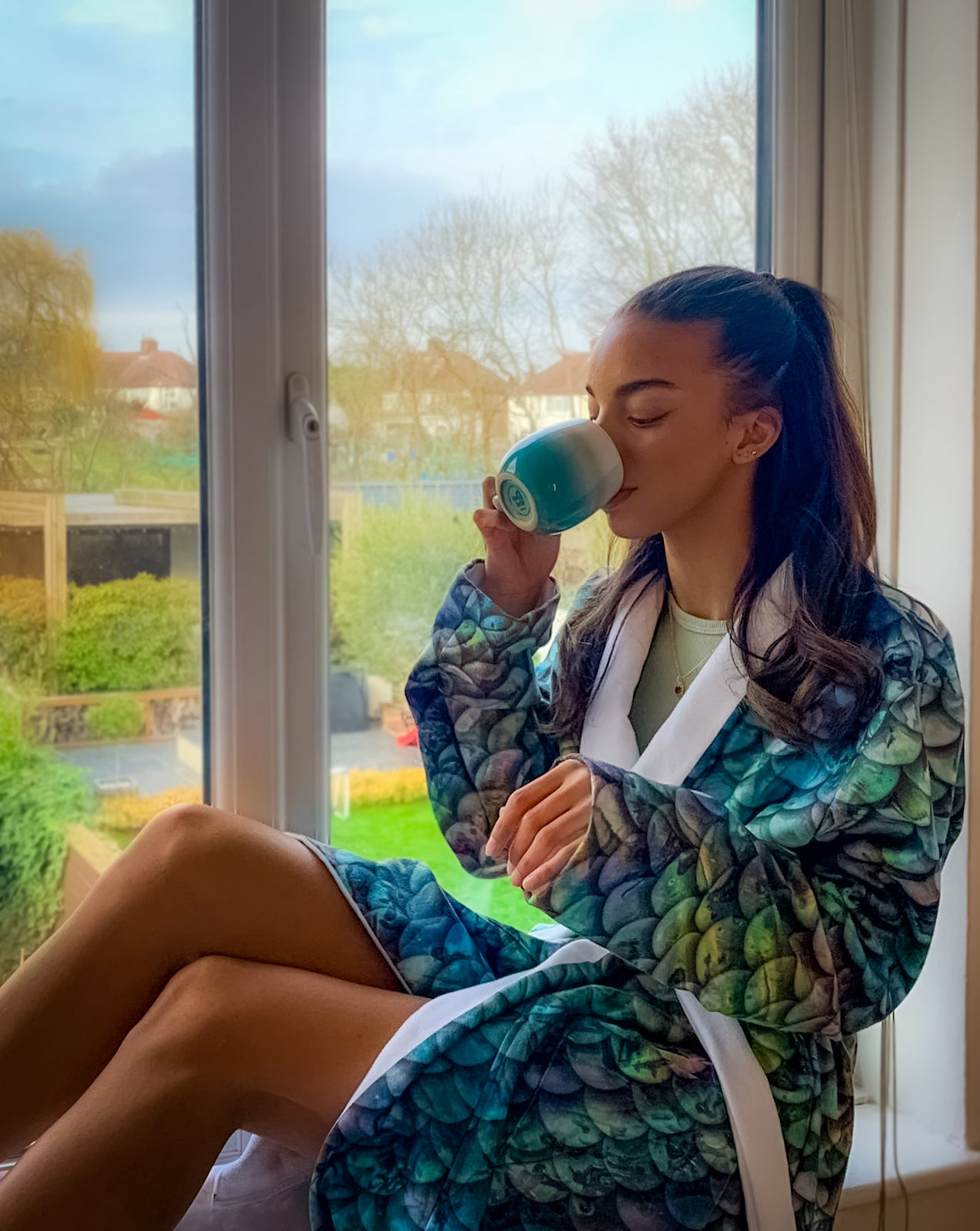 Terry Abalone Mermaid Scale Luxury Robe by Cape Cali