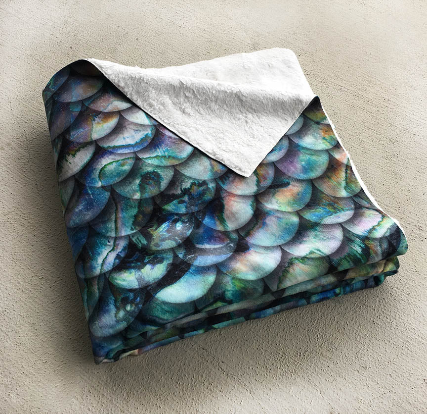 Sherpa Throw Mermaid Blanket -  Abalone Scales