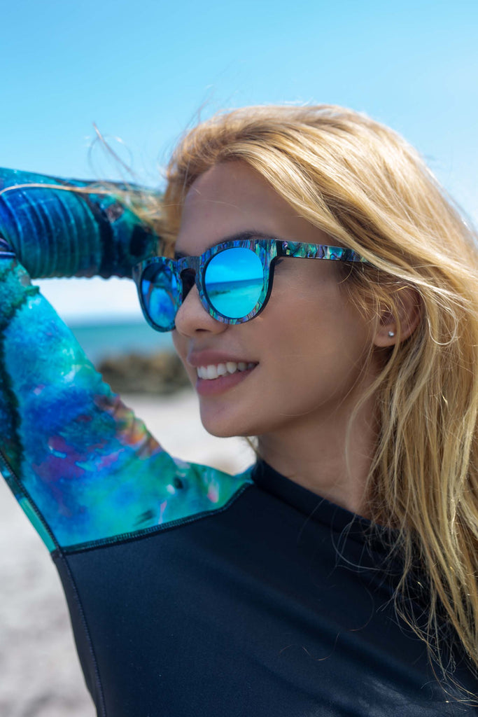 SLYK Mermaid Abalone Sun Glasses - Ice Blue - offered by Cape Cali