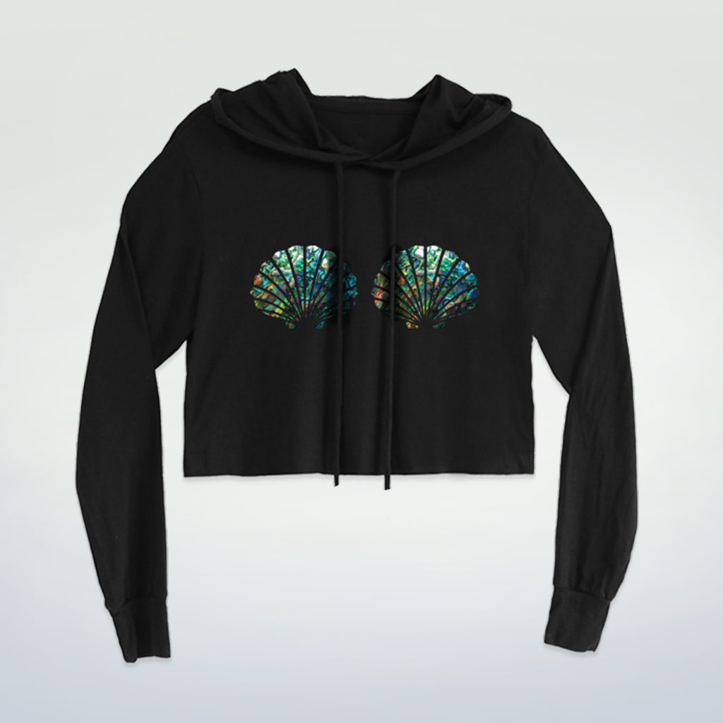 Abalone Mermaid Shell Cropped Hoodie